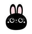 black bunny rabbit hare face head round icon big vector image