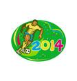 Brasil 2014 Soccer Football Player Run Retro vector image vector image