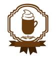 brown border heraldic decorative ribbon with mug vector image vector image