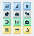 business icons set with briefcase identification vector image vector image
