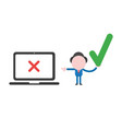 businessman holding check mark icon and pointing vector image
