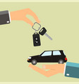 car rental or sale concept hand holding car