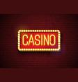 casino neon sign on brick wall vector image vector image
