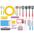 Colourful kitchen collection vector image vector image