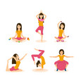 girls do yoga meditation in different positions vector image
