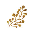 golden glitter retro flower plant deocration flat vector image