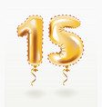 golden number fifteen metallic balloon vector image vector image