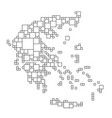 greece map from black pattern from a grid of vector image vector image