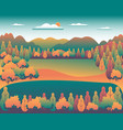 hills and mountains landscape in flat style vector image vector image
