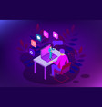 isometric web banner online training or education vector image vector image