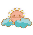kawaii sun with clouds icon vector image vector image