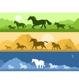 Landscapes with horses vector image vector image