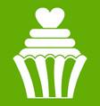 love cupcake icon green vector image vector image