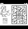 maze activity game with santa claus vector image vector image