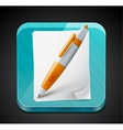 Mobile app icon - pen paper pages and glass vector image vector image