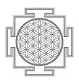 monochrome outline flower life yantra vector image vector image