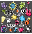 Music party kawaii sticker set Musical vector image vector image