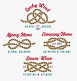 nautical rope knot emblem set vector image