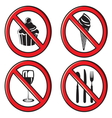 no eating no food allowed sign set vector image vector image