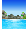Ocean scene with mountains and trees vector image vector image