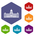 palace of congress argentina icons set hexagon vector image vector image