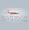 people group on airport terminal with aircraft vector image