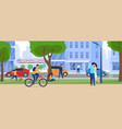 people on city streets skyscrapers and traffic vector image