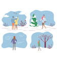 people walking in park in winter couple on date vector image vector image