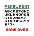 Pixel font with 39 symbols and text game over vector image vector image
