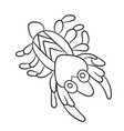 plankton shrimp in coloring page for childrean vector image vector image