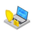 private access on laptop isometric 3d icon vector image