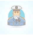 Sailor ship captain flag officer sea dog icon vector image