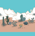 seamless pattern with mountains blooming cacti vector image