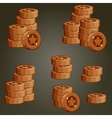Set Of Bronze Coin Piles For Game vector image vector image