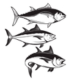 Set of tuna fish icons isolated on white vector image vector image