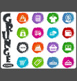 shop icons set in grunge style vector image vector image