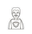 sketch contour caricature half body super dad hero vector image
