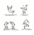 sports thin line icons set pictograms vector image vector image