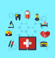 tablet pc with medical icons for web design modern vector image vector image