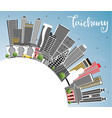 taichung taiwan city skyline with gray buildings vector image vector image