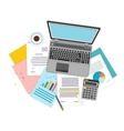 Top view of workplace with documents and laptop vector image