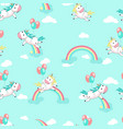 unicorns with balloons seamless pattern vector image