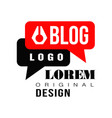 vlog or video blog label with black and red speech vector image vector image