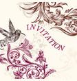 wedding invitation with bird and swirls vector image