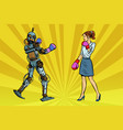 woman businesswoman boxing with a robot vector image vector image