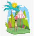 woman hello summer holiday design vector image