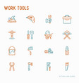 work tools thin line icons set vector image vector image