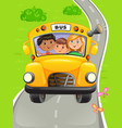yellow bus with kids going to school vector image vector image