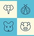 zoo icons set collection of ladybird piglet vector image vector image