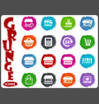 shop icons set in grunge style vector image